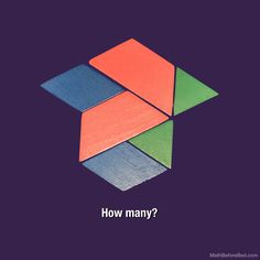 Count the number of shapes. Count the number of shapes by colour. Count the number of green triangles that could cover the whole construction. How many blue parallelograms could cover the whole are… Number Talks, Math Talk, 2nd Grade Math, Grade 2, Before Bed, Mathematics, Geometry, Shapes, Face
