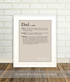 Dad, Father Definition Print - Dictionary Inspired Print, Fathers Day Wedding, Anniversary, Birthday Gift, 8x10, Custom Colors, Other Sizes