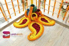 Matka decoration with flower mehendi Rangoli Designs Flower, Colorful Rangoli Designs, Rangoli Ideas, Rangoli Designs Diwali, Rangoli Designs Images, Flower Rangoli, Rangoli With Flowers, Diwali Decorations At Home, Backdrop Decorations