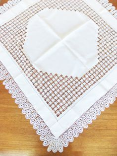 Vintage Crochet Tablecloth - white crocheted table cover - whitework - Tableware - wedding table