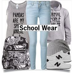 School Style by madeinmalaysia on Polyvore featuring Frame Denim, New Balance, Vera Bradley, Barts, black, Blue and grey