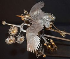 Japanese Edo Period Silver and Gilt Hair Pin (Kanzashi).  About early 19th century, Japan