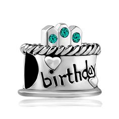 Happy Birthday Cake Charm Crystal Candles Jan-Dec Birthstone Gift Beads Fits Pandora Charm Bracelet -- You can find out more details at the link of the image.
