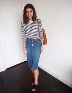 V By Very denim midi skirt