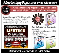 Win a Notebooking Pages LIFETIME Membership PLUS a prize from Confessions of a Homeschooler! | Homeschool Giveaways