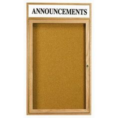 "AARCO Enclosed Wall Mounted Bulletin Board Frame Color: High Gloss Clear Laquer, Number of Doors: Two, Size: 36"" H x 48"" W"