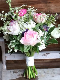 Wedding bouquet with pink Angelique tulips