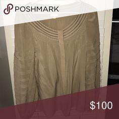 Leifsdottir nude/tan blouse Leifsdottir tan/nude blouse worn once size 0 perfect condition leifsdottier Tops Blouses