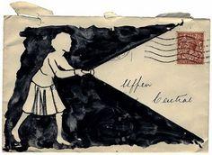 envelope, envelope art, letter, letter art, art, drawing, envelope drawing, flashlight, girl