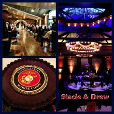 Stacie & Drew had a Military inspired wedding in honor of the Marines at the Foundry in Knoxville, TN. The Blue & Candlelight Lighting Decor created a warm setting for their reception. #knoxvillewedding #weddingdj