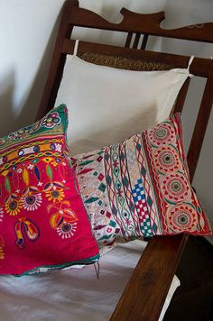 6/25: Rabari tribal cushions in the bedroom. Ethnic Home Decor, Indian Home Decor, Living Room Inspiration, Furniture Inspiration, Love Home, My Dream Home, Indian Interiors, India Style, Bohemian Bedding