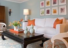 Color story for bedroom -- wythe blue walls, white duvet, with tangerine tango accents on bed pillows, possibly headboard