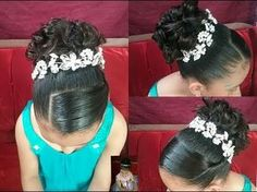 kids tiara hairstyles ~ - All For Hairstyles Cute Hairstyles For Kids, Flower Girl Hairstyles, Little Girl Hairstyles, Pretty Hairstyles, Communion Hairstyles, Tiara Hairstyles, Wedding Hairstyles, Girl Hair Dos, Quinceanera Hairstyles