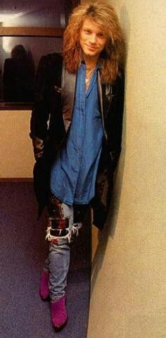 Jon Bon Jovi - Gotta love the and the purple boots. I remember when he looked like this. Jon Bon Jovi, Bon Jovi 80s, Bon Jovi Always, 80s Hair Bands, Purple Boots, My First Crush, Most Beautiful Man, Beautiful Smile, Dream Guy
