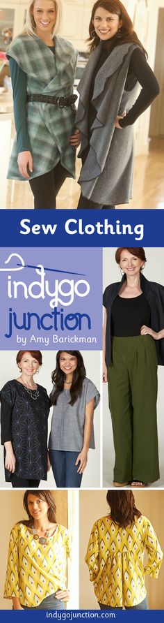 Some great women's clothing sewing patterns from Indygo Junction, perfect for beginners and experts alike!