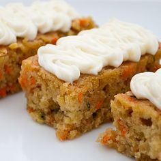 Carrot zucchini bars- delicious and full of nutritious veggies! We have made these twice! So moist and more-ish. A great way to use that zucchini. I used 2 cups of powdered sugar in the frosting the second time we made it and liked that better.   # Pinterest++ for iPad #