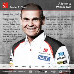 Lovely letter from an admirer to Willem Toet, sent after watching the Wind Tunnel Explained videos on www.youtube.com/sauberf1team... Click again to read the full letter! #F1 #SauberF1Team #Formula1 #FormulaOne #motorsport #smile #amazing #awesome #loveit