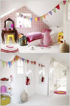 Skona Hem This bedroom has one wall in pink check and the rest of the walls are white that are contrasted blissfully with bunting flags that have tiny prints over them in multi colours.