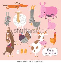 Cute farm animals on a pink background. Childish vector illustration of cow, sheep, pig, chickens, horse, hen, rabbit, goat, turkey, cock, piggy and watchdog.