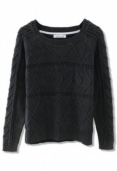 Zig Zag Cable Knit Top in Black