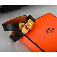 Hermès Black Leather & Gold Kelly Double Tour Bracelet