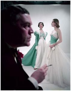 50s designer evening gowns white green ball dress full skirt halter beaded Norman Hartnell in profile, 1953 Photo Norman Parkinson