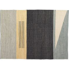Shop code rug 9'x12'.   Muted flatweave bands together tonal greys, tan and soft blue, accented by clean white triangle and trio of black lines.