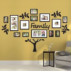 I'm pretty sure Bed Bath & Beyond carries this: Hallway Family Tree Collage Picture Photo Wall Art Large Wedding Frame Decor Family Tree Frame, Family Wall, Family Trees, Family Tree Wall Decor, Tree Wall Art, 3d Wall, Family Room, Picture Wall, Photo Wall Art