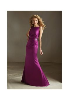 Bridesmaids Dresses 688 Satin with Beaded Brooch Zipper back. Shown in Mulberry. Available in all Satin colors. Sizes Available: 2-28.