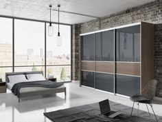 This sleek, modern bedroom furniture is simply A slab handless door style makes for a perfectly organised space. Bedroom Cupboard Designs, Wardrobe Design Bedroom, Bedroom Closet Design, Built In Wardrobe Doors, Sliding Door Wardrobe Designs, Closet Doors, Modern Bedroom Furniture Sets, Bedroom Sets, Furniture Design