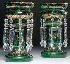 lighting, Continental, Pair of Continental,green gilded mantel lustres, hollow baluster stems and beveled rims hung with nine period faceted and notched spearhead prisms and beads. Antique Oil Lamps, Antique Lighting, Crystal Glassware, Glass Crystal, Cut Glass, Glass Art, Antique Mantel, Faberge Jewelry, Victorian Lamps