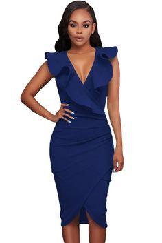 Blue Ruffle V Neck Bodycon Midi Dress