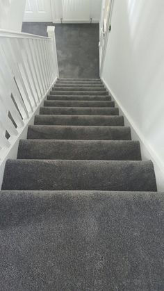 For the best carpet selection Glasgow has on offer, visit Joe Walker's Flooring. Find find the best carpet for you today. Grey Walls And Carpet, Grey Stair Carpet, Grey Carpet Hallway, Grey Hallway, Carpet Staircase, Dark Grey Carpet Living Room, Dark Carpet, Narrow Hallway Decorating, Home Interior Accessories