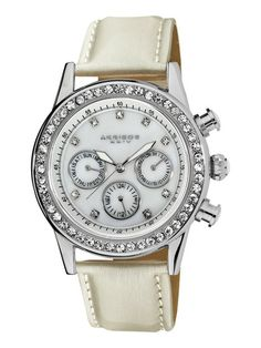 Women's Diamond, Crystal, & White PU Watch by Akribos XXIV
