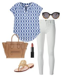 """blue printed top"" by kcunningham1 ❤ liked on Polyvore featuring 7 For All Mankind, Velvet, Jack Rogers, CÉLINE, Illesteva, NARS Cosmetics, women's clothing, women, female and woman"