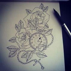 pocket watch tattoo outline - - Yahoo Image Search Results