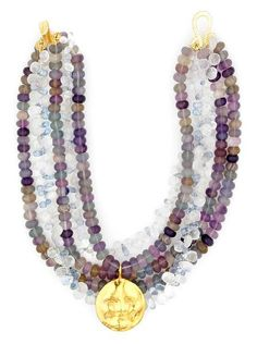Tony Duquette (American, 1914-1999), 1990s. An amethyst, fluorite, moonstone, topaz and vermeil necklace, length 15 1/2in (39.5cm)