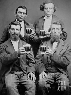 Four Guys and their Mugs of Beer, Ca. 1880 Photographic Print at Art.com