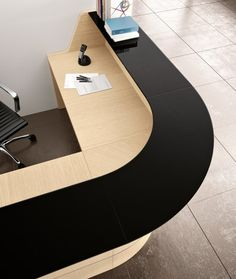 Stunning range of both modular and bespoke reception counters. Our portfolio of reception desks offers an eclectic range of designs and prices to suit all budgets. Curved Reception Desk, Office Reception Area, Reception Desk Design, Reception Counter, Hospital Reception, School Reception, Industrial Office Design, Office Interior Design, Office Interiors