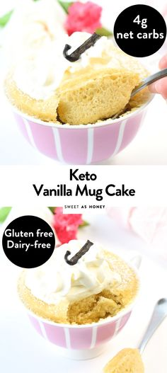 This keto vanilla mug cake is a moist single-serve almond flour mug cake with only net carbs. gluten-free, dairy free and paleo friendly. Vanilla Keto Mug Cake, Paleo Mug Cake, Easy Mug Cake, Mug Cake Healthy, Keto Cake, Gluten Free Mug Cake, Healthy Food, Microwave Cookies, Mug Cake Microwave
