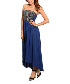 Love this Blue & Black Geometric Strapless Hi-Low Dress on #zulily! #zulilyfinds