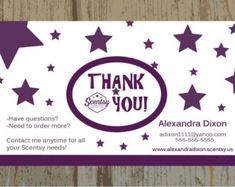AUTHORIZED SCENTSY VENDOR Custom Scentsy Thank You Cards Printed or Digital Upload One Sided Card For Any Business