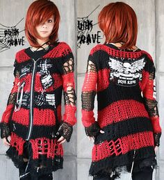 Chain Skull Tattered Visual Kei Punk Gothic Kimono Lolita Coat Sweater Emo | eBay