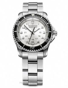 Swiss Army Ladies Maverick GS - Silver Dial - Stainless Steel - Black Bezel