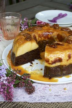 ChocoFlan (chocolate cake + cream cheese flan + caramel) - by Adora's Box