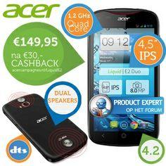 iBOOD.com - Acer Liquid E2 DUO met €30 cashback! Nu van € 259,00 voor € 179,95!