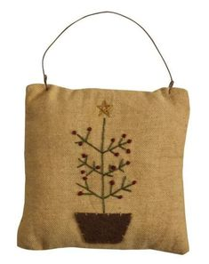 Homespun Christmas Ornaments | Primitive Feather Tree Mini Pillow Ornament - Christmas Holiday Sale ...