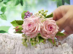 """Купить Заколка-автомат """"Empress Garden"""". Флористическая глина. - розовый, белый, зеленый, заколка для волос"""