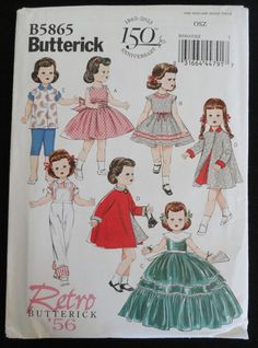 "Butterick Retro Pattern #B5865, '56 fits 18"" Doll 1950s Clothes, Coat, Gown #Butterick"