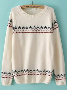 Beige Long Sleeve Embroidered Loose Sweater US$31.80